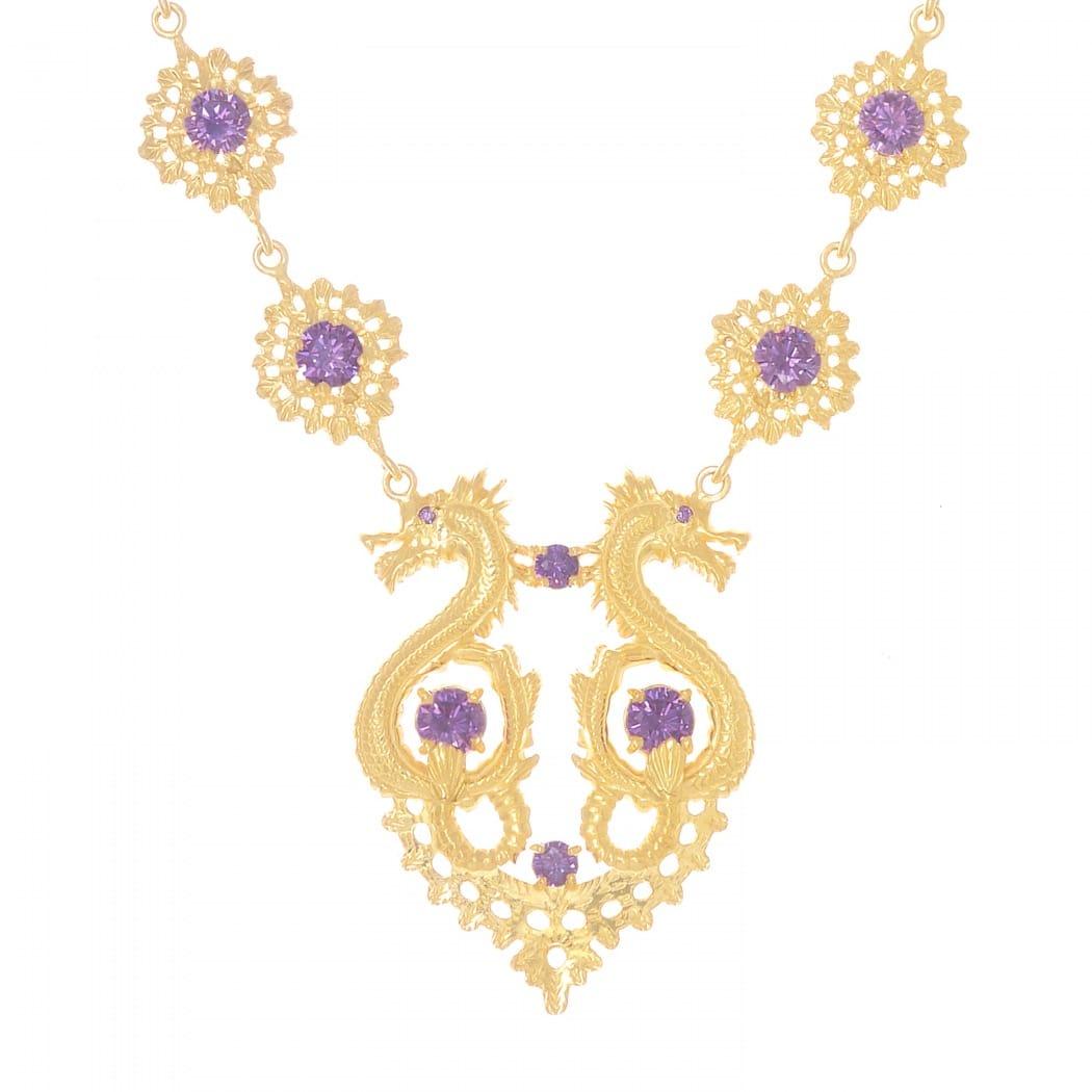 Colar Rainha Dragão Ametista em Prata dourada