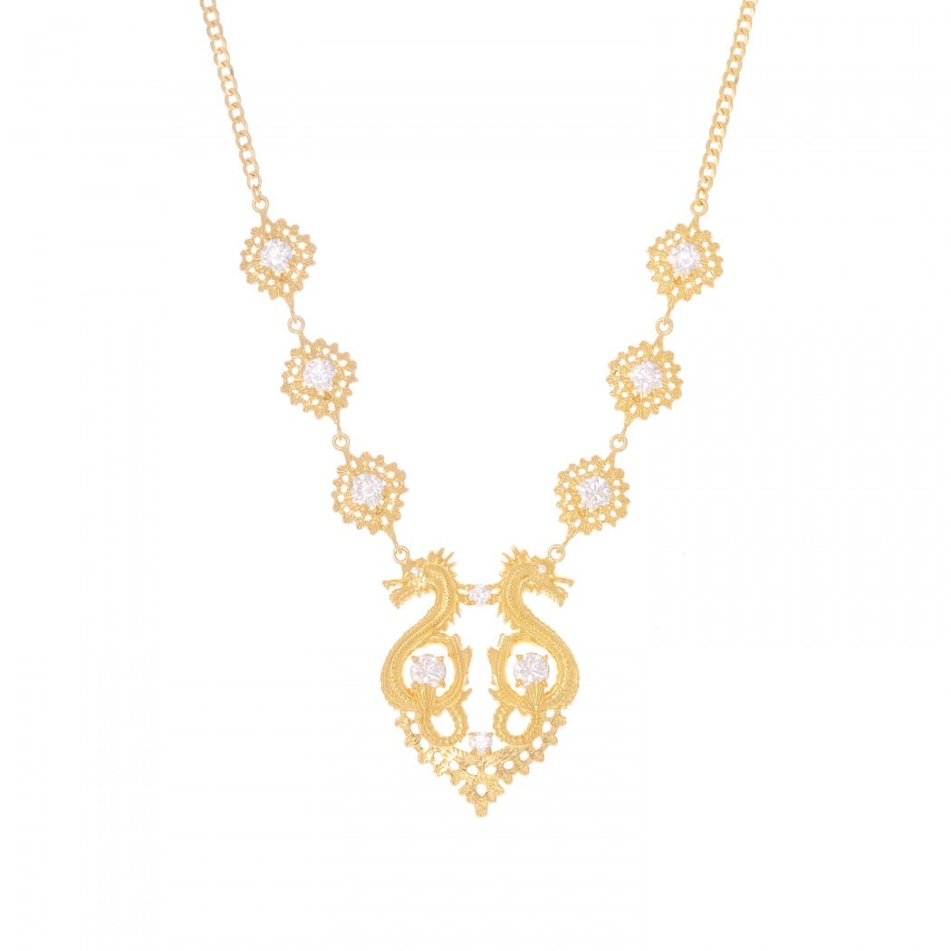 Necklace Queen Dragon Zirconia in Gold Plated Silver