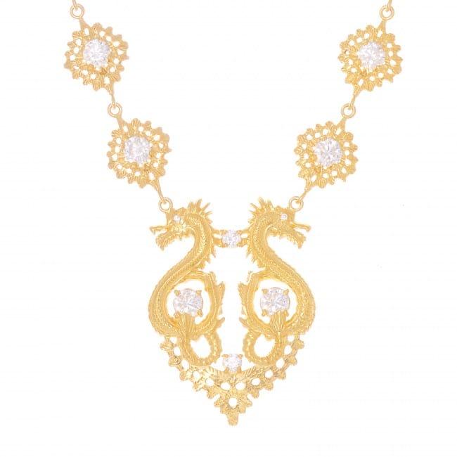Colar Rainha Dragão Zircónia em Prata dourada