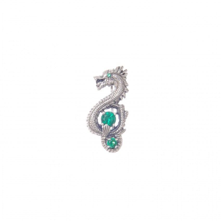 Alfinete Dragão Esmeralda em Prata
