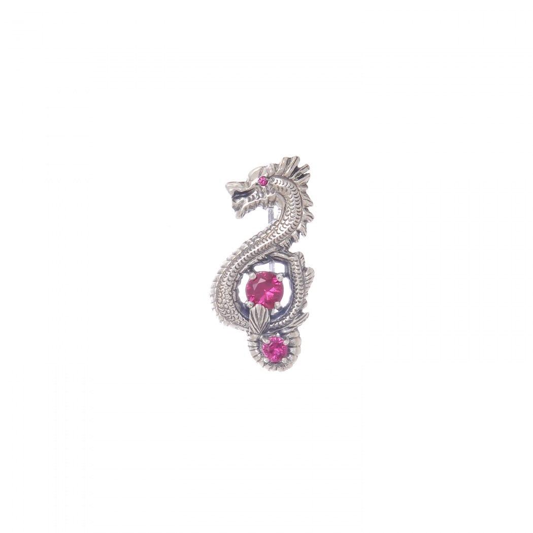 Brooch Dragon Ruby in Silver