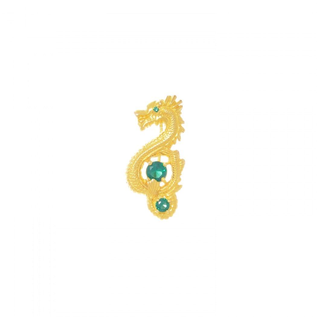 Alfinete Dragão Esmeralda em Prata dourada