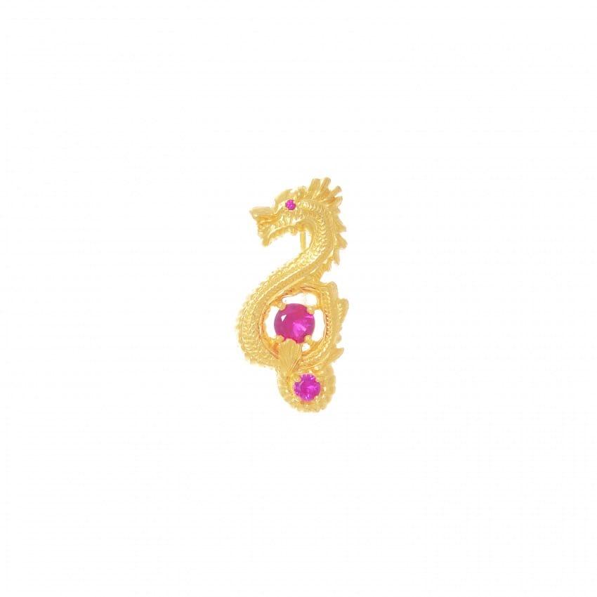 Alfinete Dragão Rubi em Prata dourada