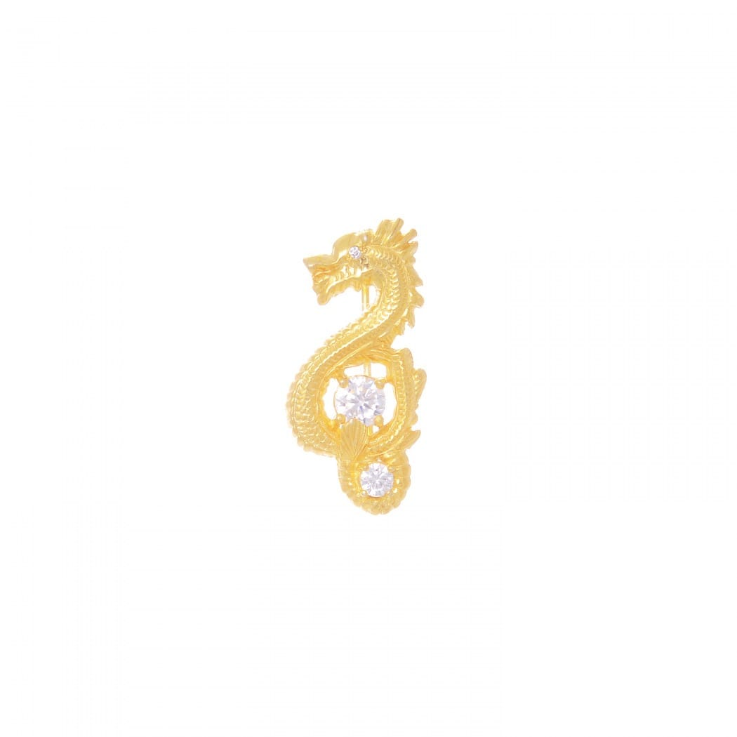 Brooch Dragon Zirconia in Gold Plated Silver