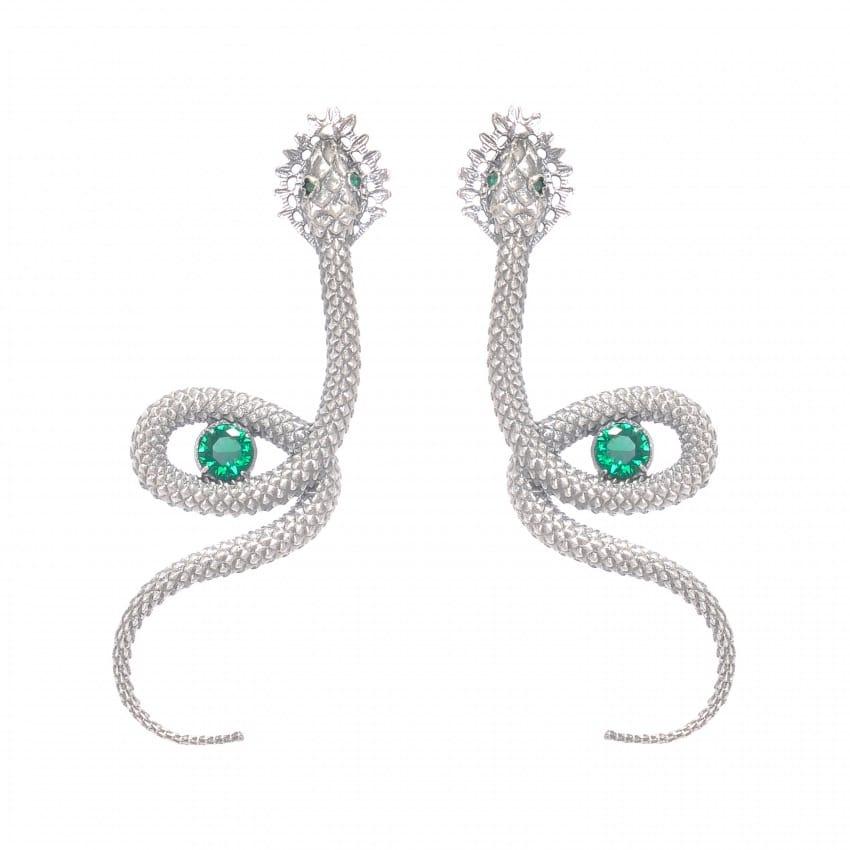 Earrings Snake Emerald in Silver