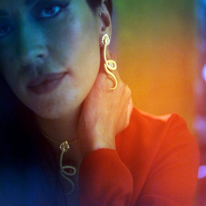 Earrings Snake Ruby in Silver
