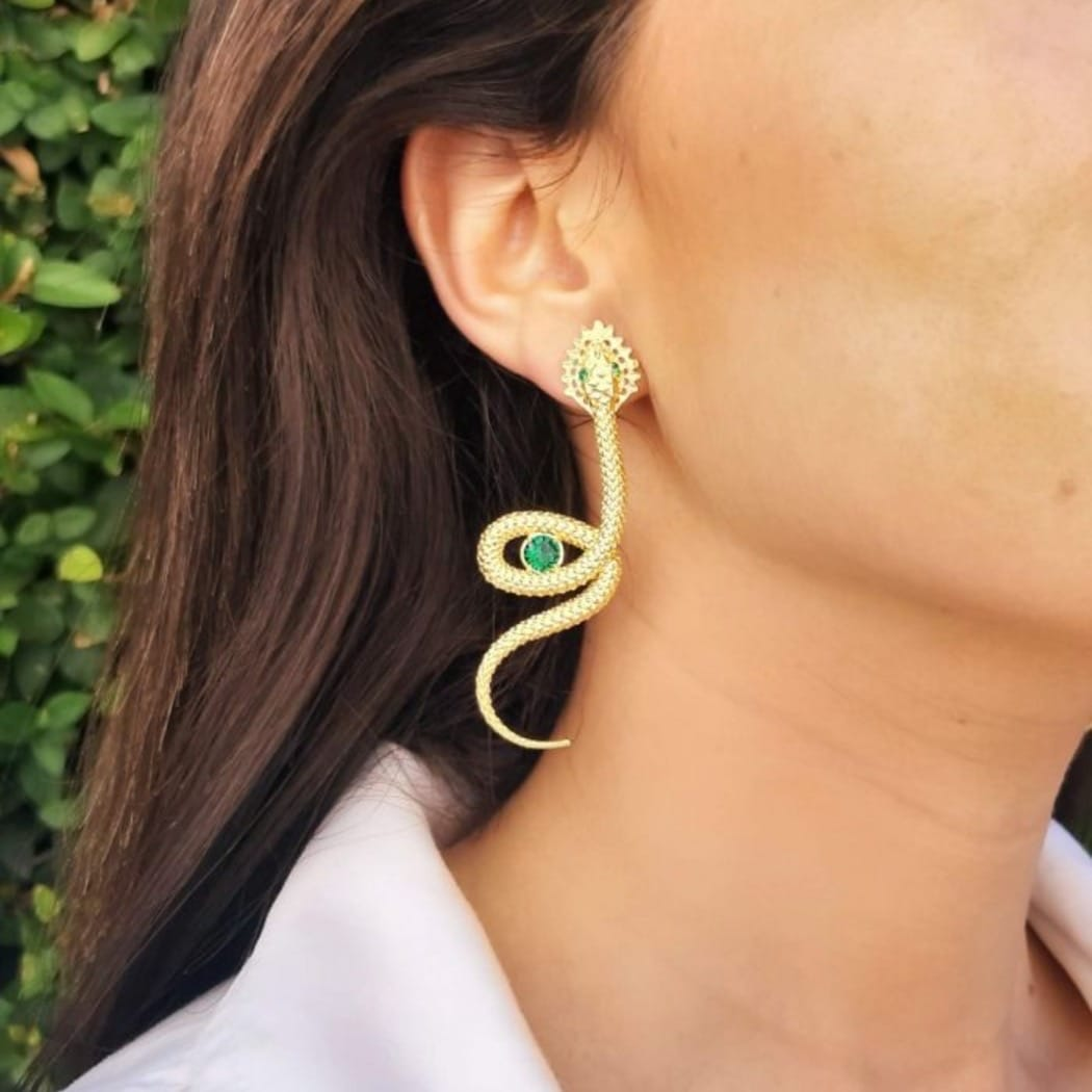 Earrings Snake Emerald in Gold Plated Silver