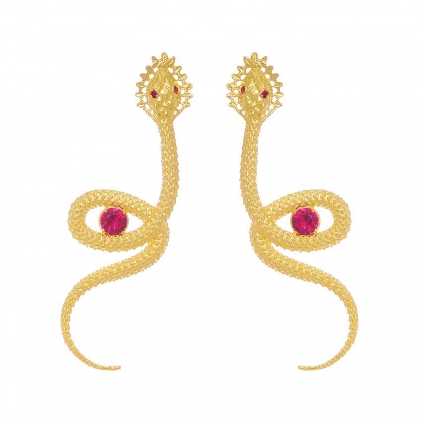 Brincos Cobra Rubi em Prata dourada