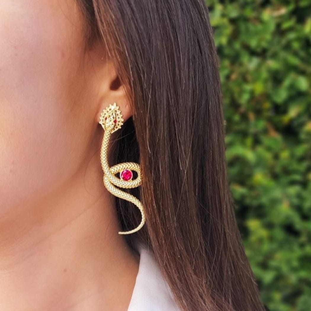Earrings Snake Ruby in Gold Plated Silver