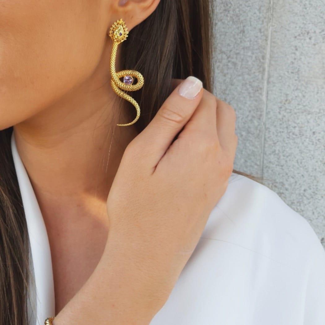 Earrings Snake Amethyst in Gold Plated Silver
