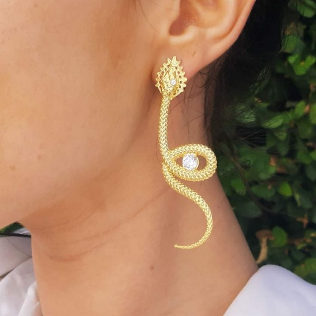 Earrings Snake Zirconia in Gold Plated Silver