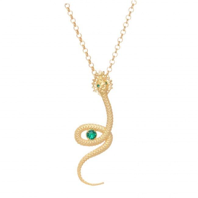 Colar Cobra Esmeralda em Prata dourada