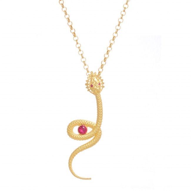 Colar Cobra Rubi em Prata dourada
