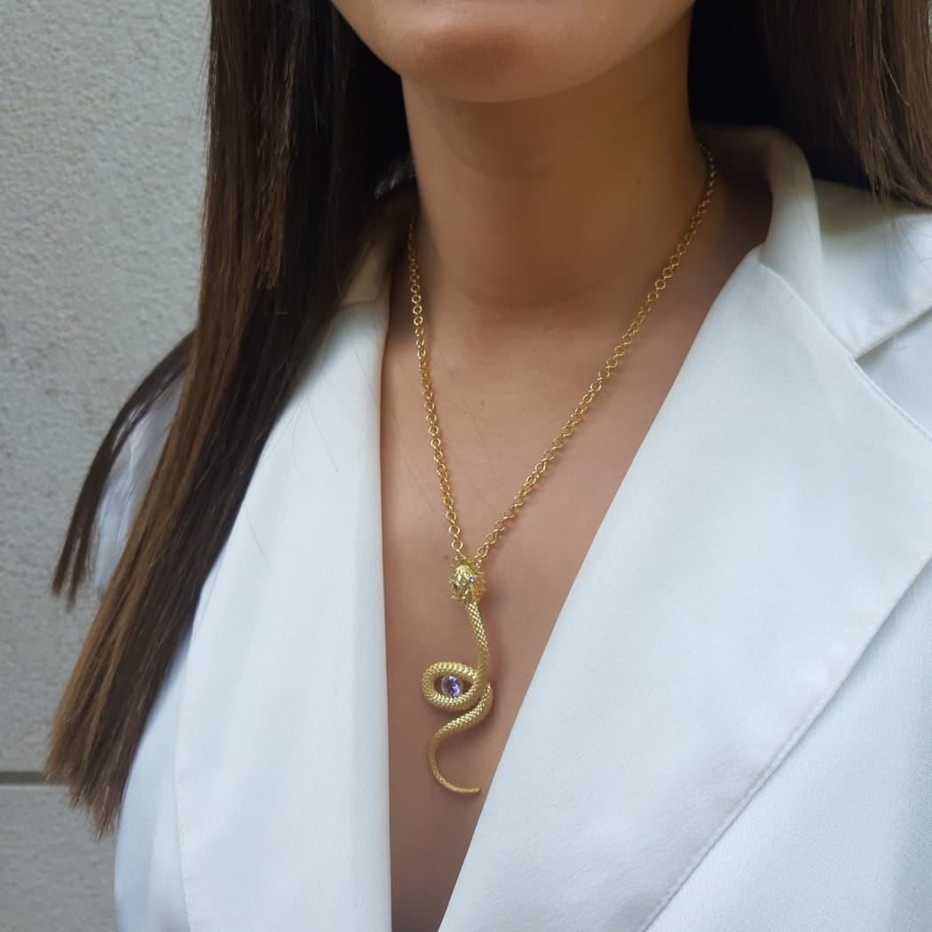 Necklace Snake Zirconia in Gold Plated Silver