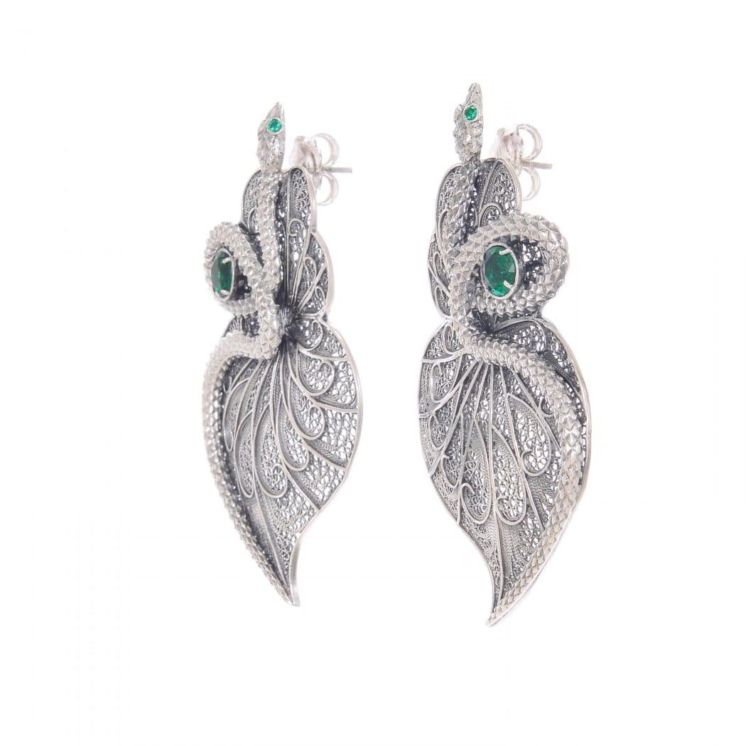 Earrings Heart Snake Emerald in Silver