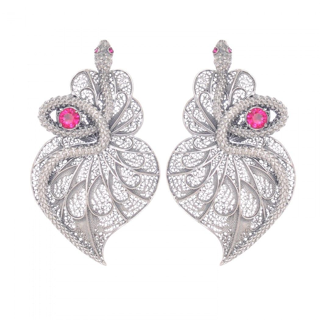 Earrings Heart Snake Ruby in Silver
