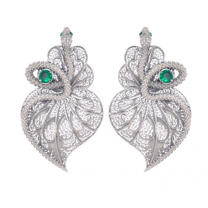 Brincos Coração Cobra Esmeralda em Prata