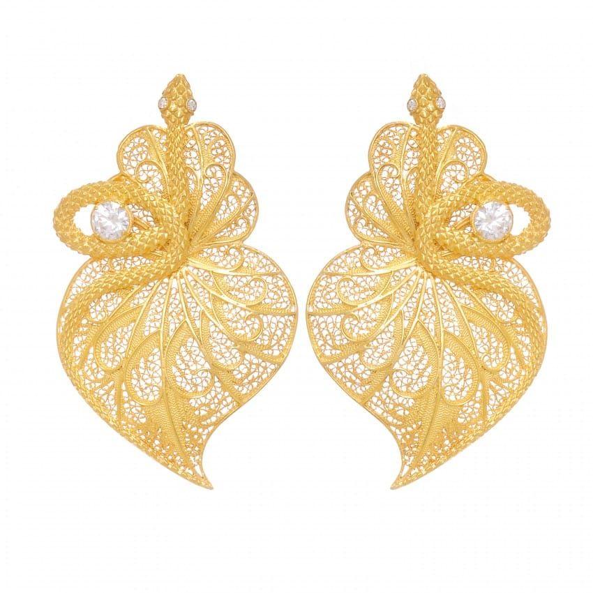 Earrings Heart Snake Zirconia in Gold Plated Silver
