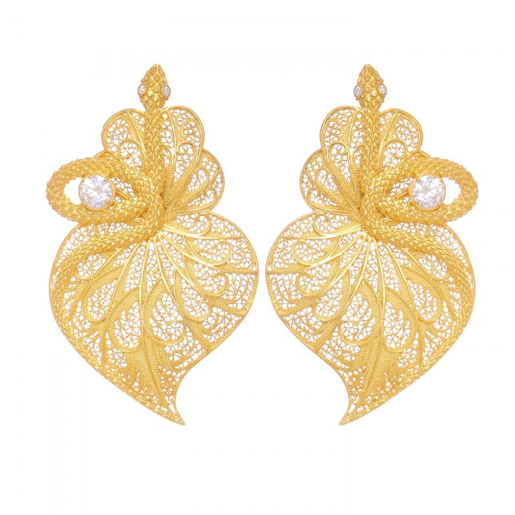 Brincos Coração Cobra Zircónia em Prata Dourada