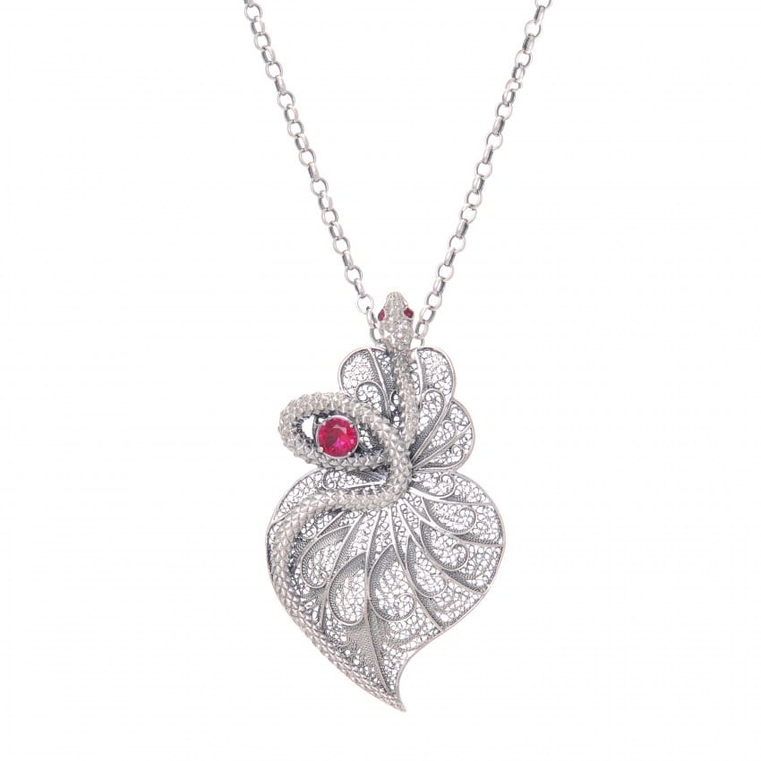 Necklace Heart Snake Ruby in Silver