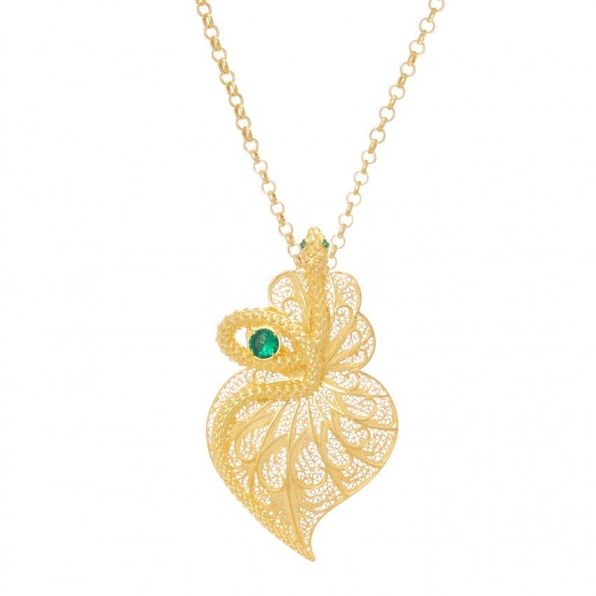 Colar Coração Cobra Esmeralda em Prata dourada
