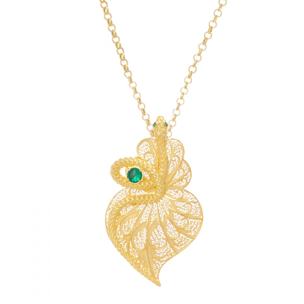 Necklace Heart Snake Emerald in Gold Plated Silver