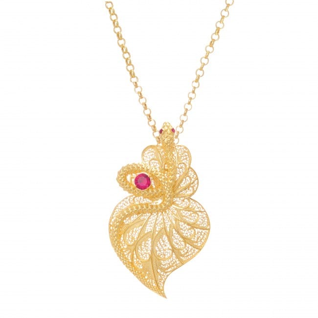 Necklace Heart Snake Ruby in Gold Plated Silver