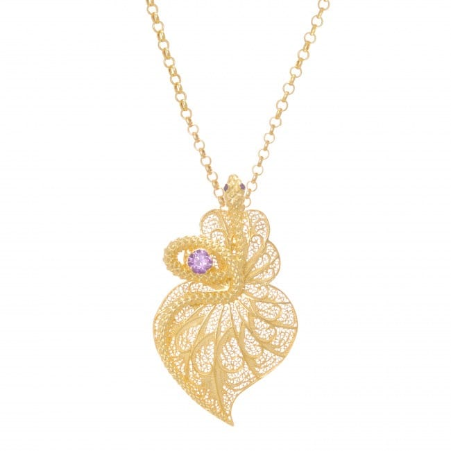 Necklace Heart Snake Amethyst in Gold Plated Silver