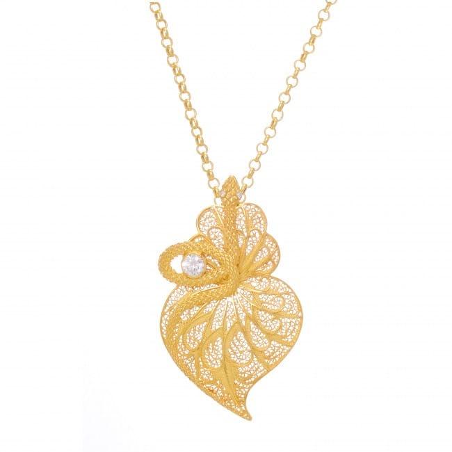 Colar Coração Cobra Zircónia em Prata dourada