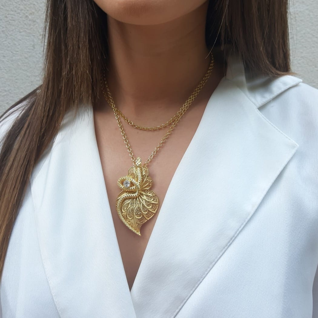 Necklace Heart Snake Zirconia in Gold Plated Silver