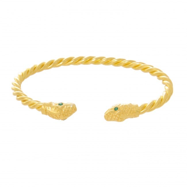 Pulseira Escrava Cobra Esmeralda em Prata Dourada