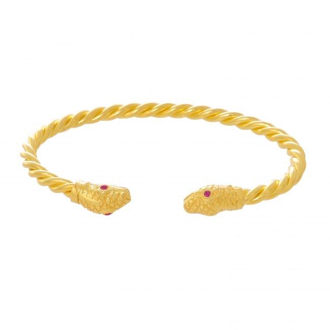 Pulseira Escrava Cobra Rubi em Prata Dourada