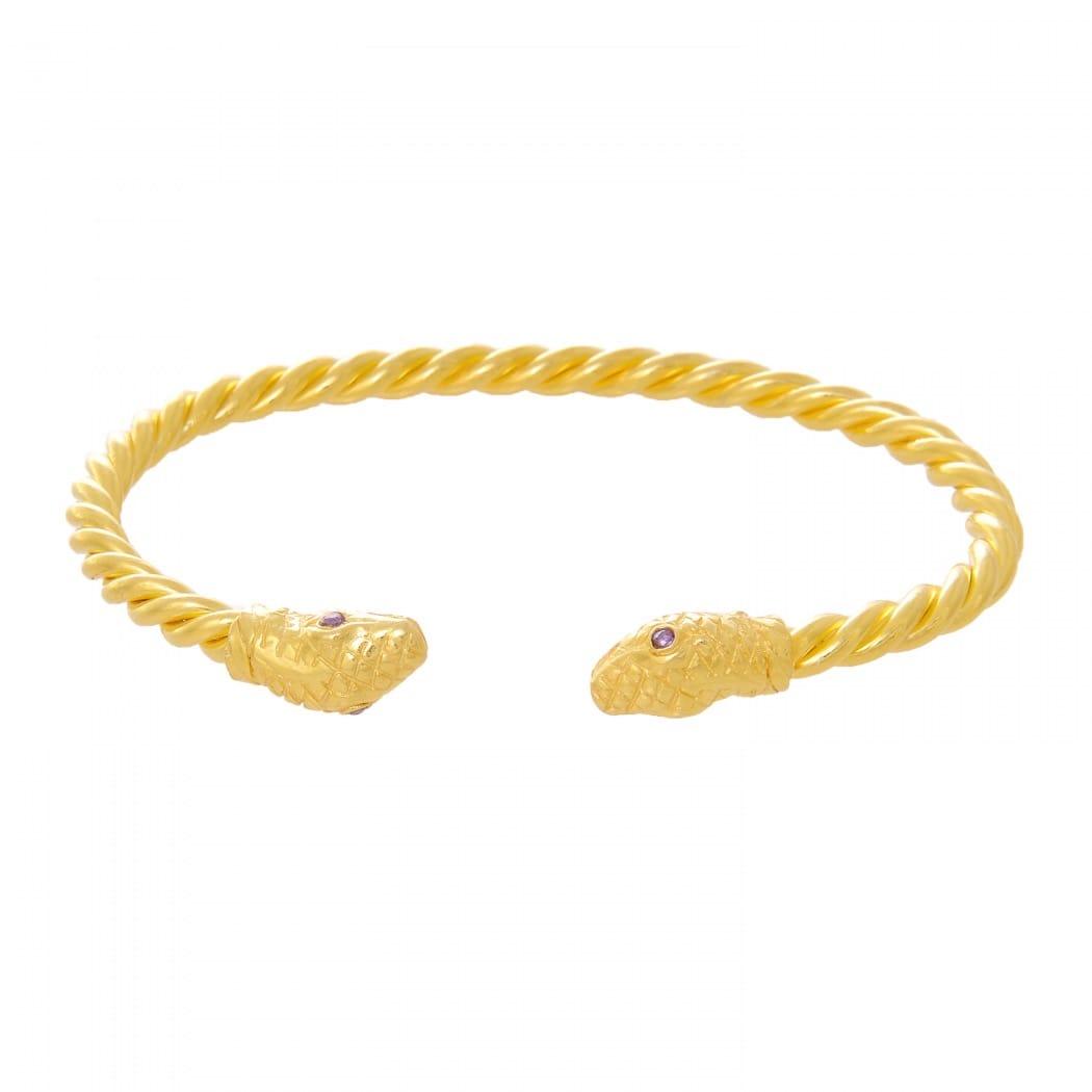 Pulseira Escrava Cobra Ametista em Prata Dourada