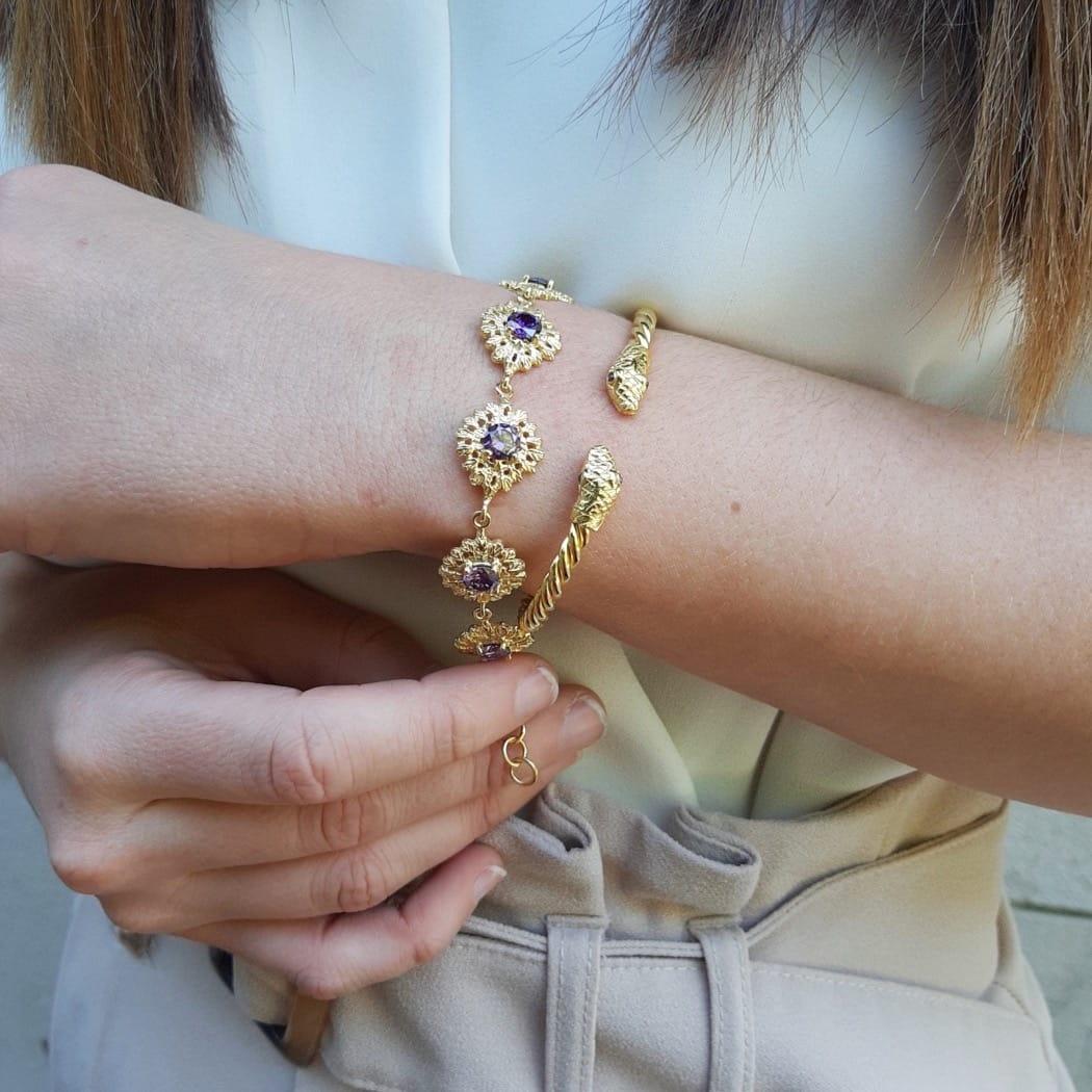 Bracelet Snake Amethyst in Gold Plated Silver