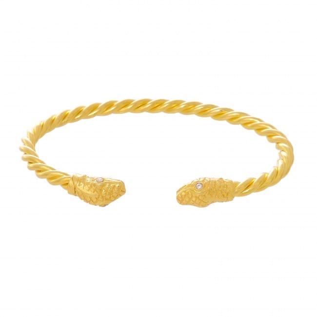 Pulseira Escrava Cobra Zircónia em Prata Dourada
