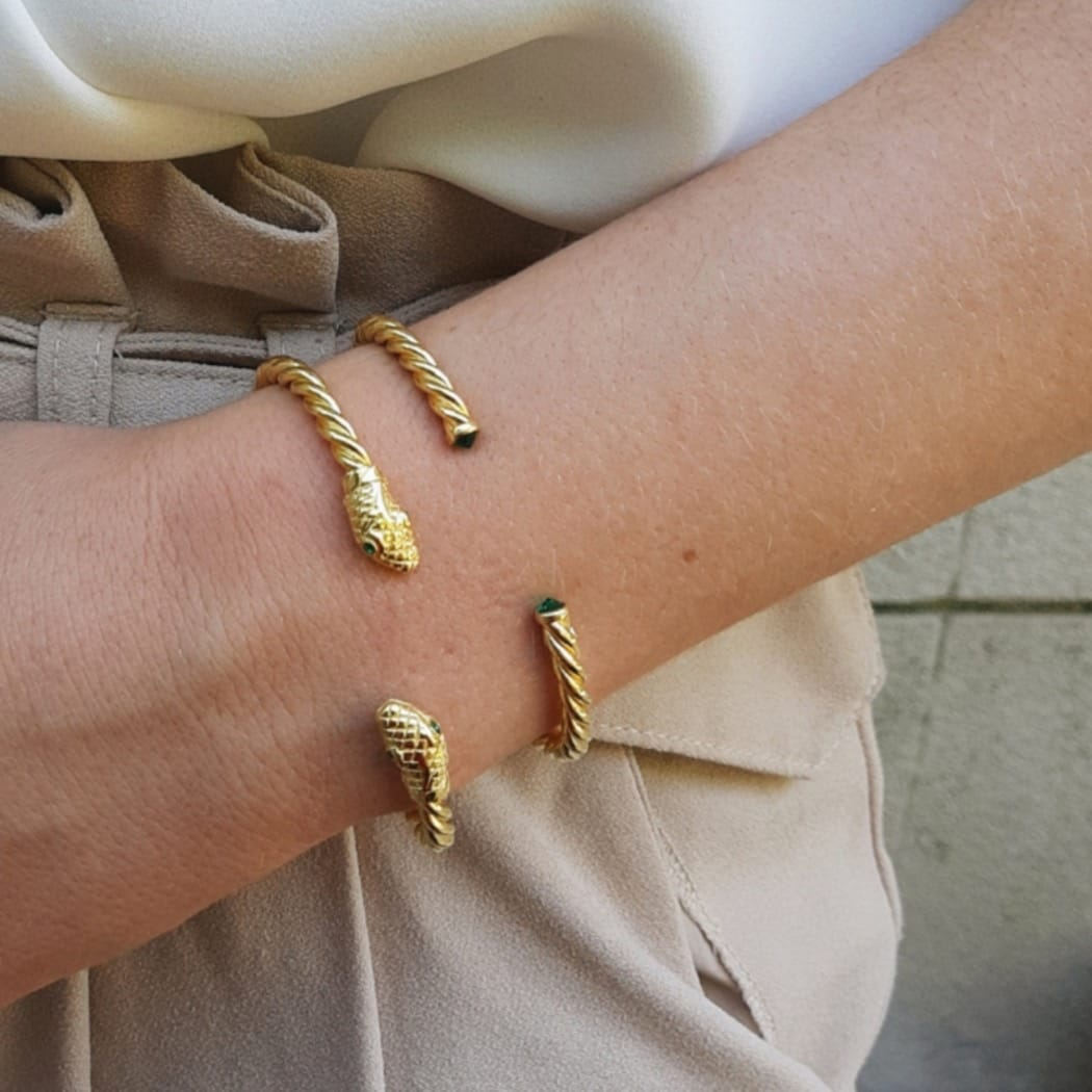 Bracelet Rope Emerald in Gold Plated Silver
