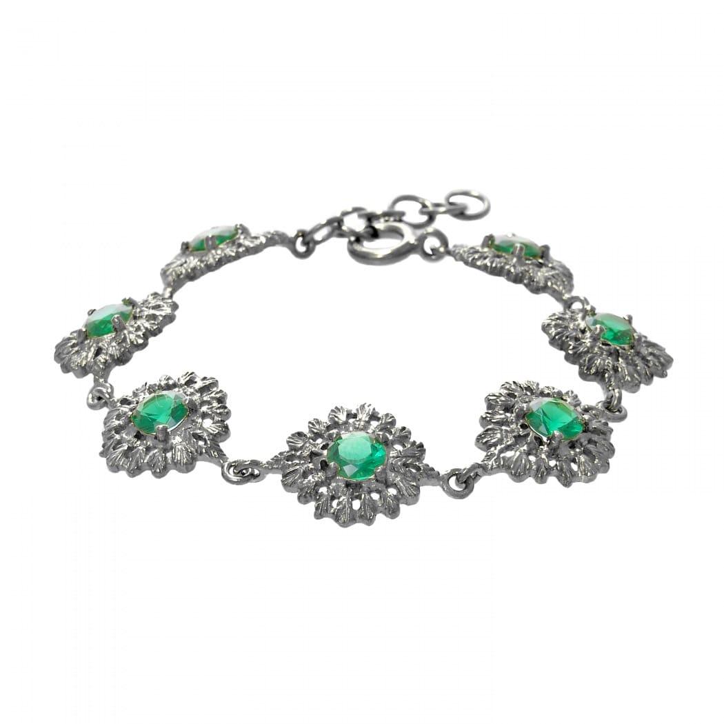 Pulseira Rainha Esmeralda em Prata