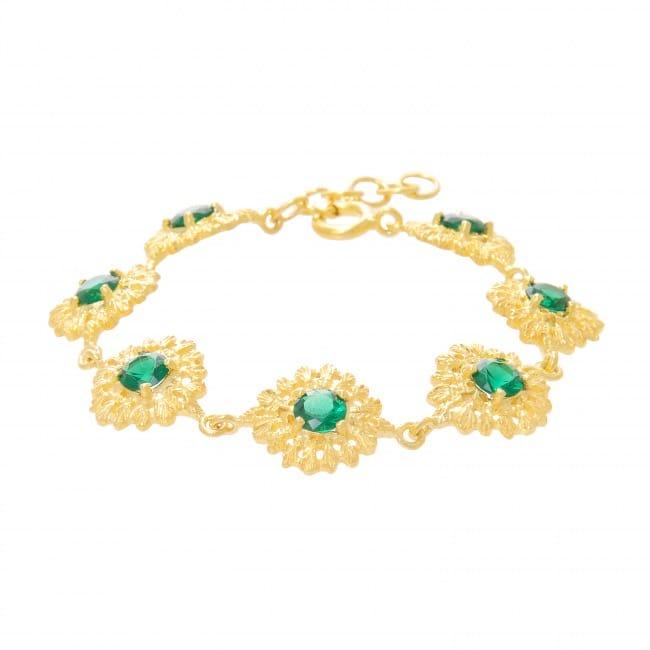 Pulseira Rainha Esmeralda em Prata dourada