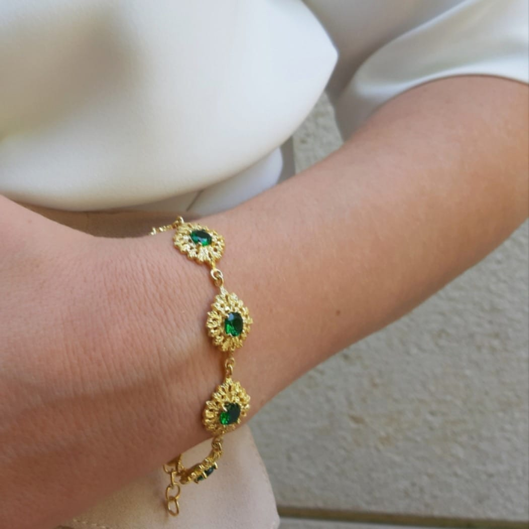 Bracelet Queen Emerald in Gold Plated Silver