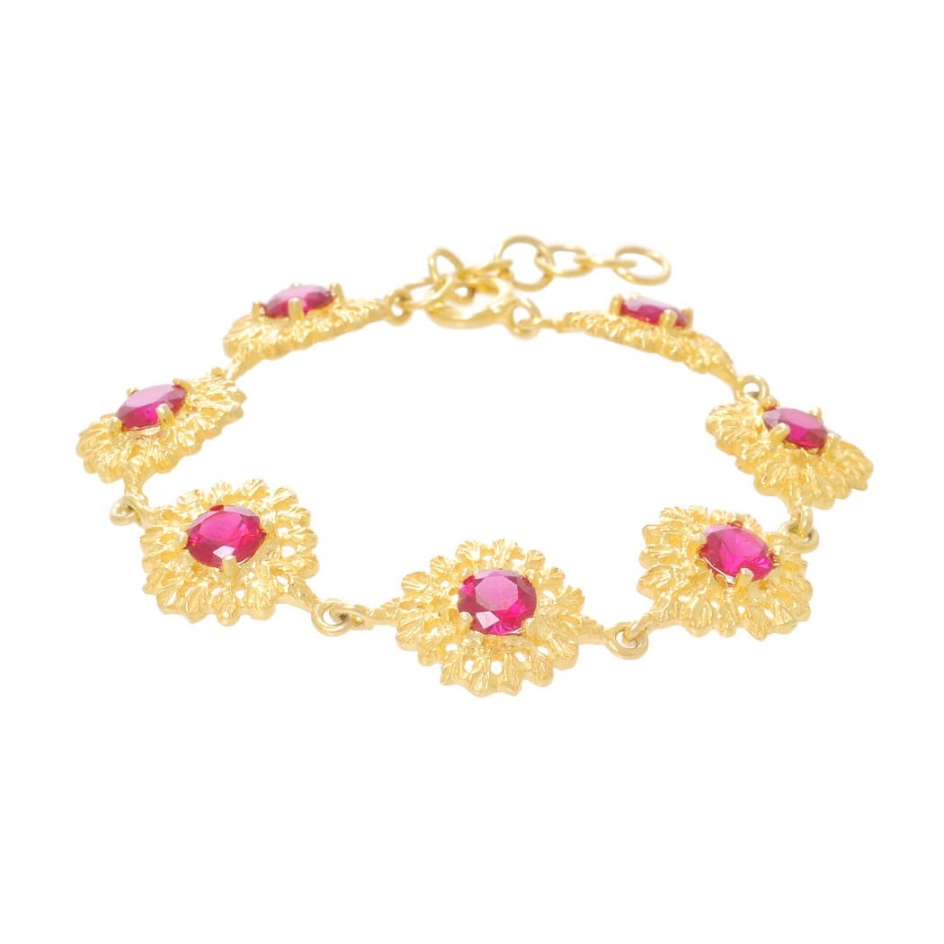 Bracelet Queen Ruby in Gold Plated Silver
