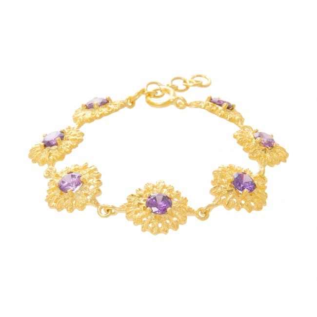 Bracelet Queen Amethyst in Gold Plated Silver