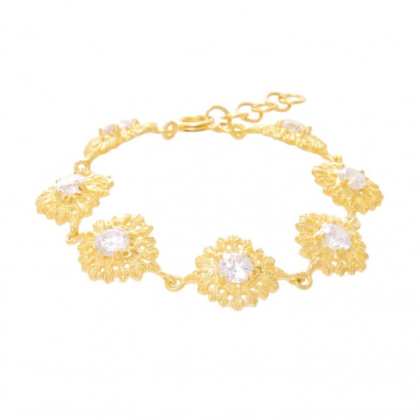 Pulseira Rainha Zircónia em Prata dourada
