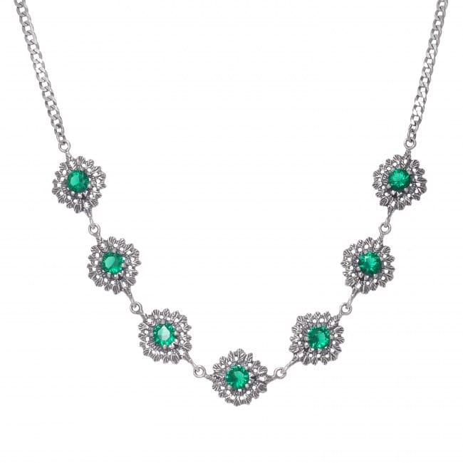 Necklace Choker Queen Emerald in Silver