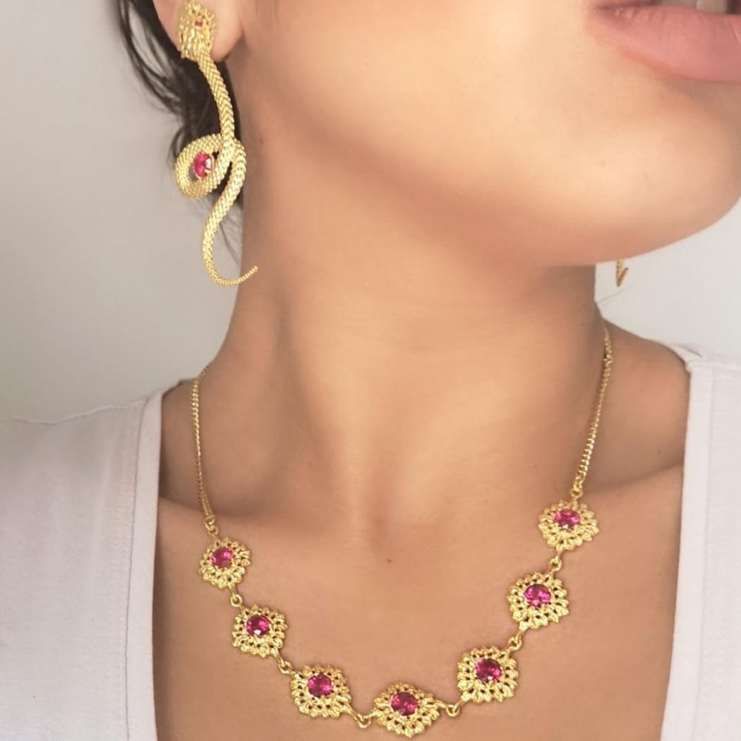 Necklace Choker Queen Ruby in Silver