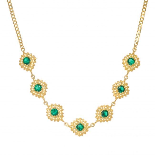Colar Gargantilha à Rainha Esmeralda em Prata dourada