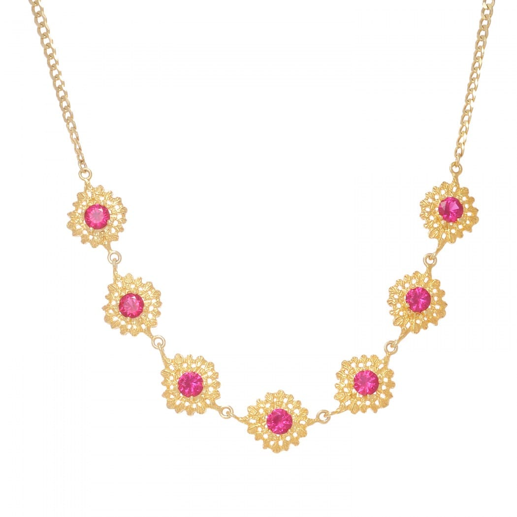 Necklace Choker Queen Ruby in Gold Plated Silver