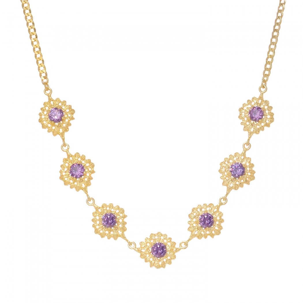 Necklace Choker Queen Amethyst in Gold Plated Silver