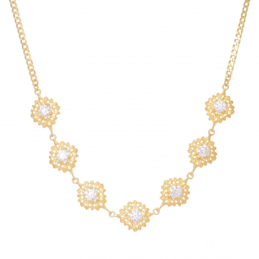 Necklace Choker Queen Zirconia in Gold Plated Silver
