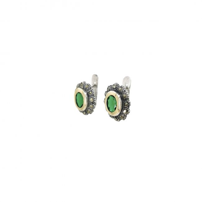 Earrings Emerald Marcasites in Silver and Gold