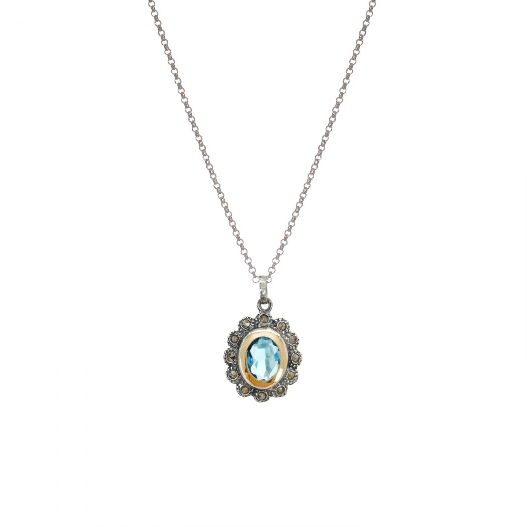 Necklace Aquamarine Marcasites in Silver and Gold